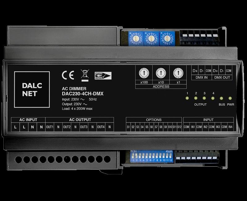 Dimmer LED Dalcnet DAC230-4CH-DMX per applicazioni DMX